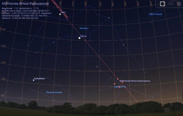 Vue vers le Sud-Ouest, le 7 janvier 2017 à 18h15, avec la position de la comète 45P/HMP