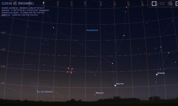 Vue vers le Sud-Est, le 7 janvier 2017 à 7h15, avec la position de la comète C/2016 U1
