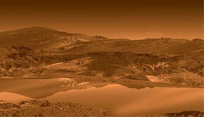 Vue d'artiste représentant l'un des lacs de la région du pôle Nord de Titan