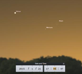 Simulation du ciel visible à Lyon au soir du 21 janvier à 17h55, heure locale