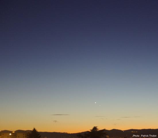 Mars visible à proximité de Vénus et Mercure, 10 janvier 2015