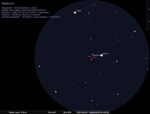 Champ de jumelles 15x sur Neptune et Vénus le 12 janvier 2017 vers 19h