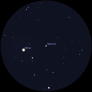 Champ d'une lunette astronomique (inversant les images) au grossissement 36x sur Neptune et Vénus le 12 janvier 2017 vers 19h