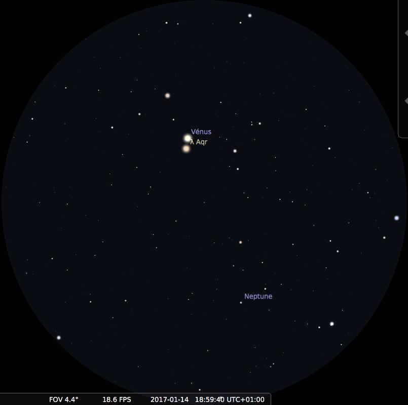 Champ de jumelles 15x sur Neptune et Vénus le 14 janvier 2017 vers 19h