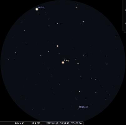 Champ de jumelles 15x sur Neptune et Vénus le 16 janvier 2017 vers 19h