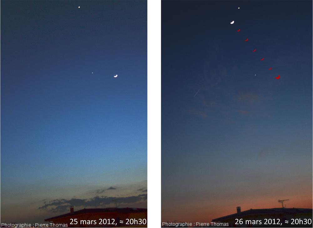 Triple conjonction Vénus - Jupiter - Lune, comparaison à 24h d'intervalle