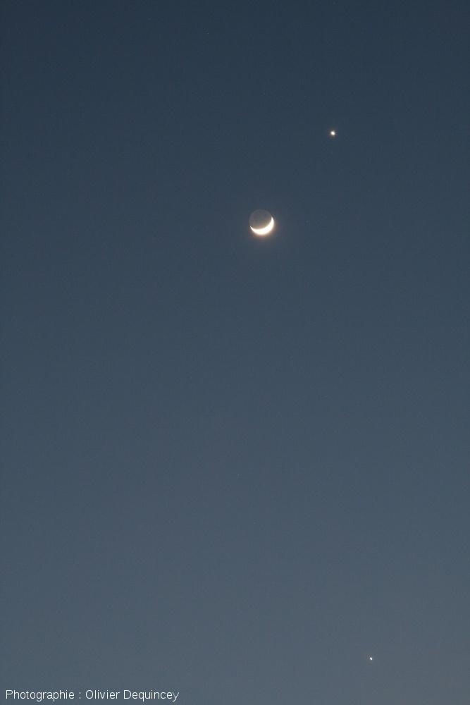Triple conjonction Vénus - Jupiter - Lune, 26 m ars 2012