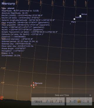 Ciel matinal du 23 octobre 2015, vers 7h15: Vénus, Mars, Jupiter et Mercure