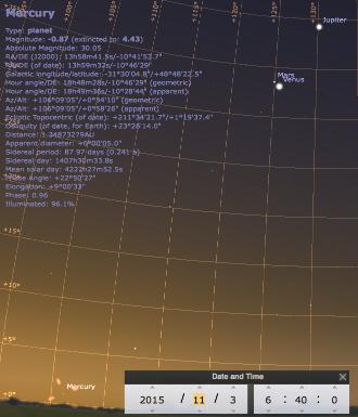 Ciel matinal du 3 novembre 2015, vers 6h40: Jupiter, Mars et Vénus, et Mercure à l'horizon
