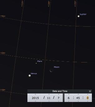 Ciel matinal du 7 novembre 2015, vers 6h45: Jupiter, Mars, Lune, Vénus