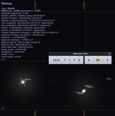 Ciel matinal du 9 janvier 2016, vers 6h30: conjonction exceptionnelle (moins de 10 minutes d'arc) entre Vénus et Saturne