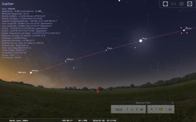 """Ciel matinal du samedi 30 janvier 2016, vers 7h15: exceptionnel alignement sur l'écliptique des """"astres errants"""", hors Soleil"""