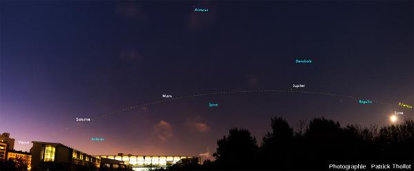 """Alignement des """"astres errants"""" dans le ciel matinal du 25 janvier 2016, Lyon (Mercure non visible), avec un horizon plat"""