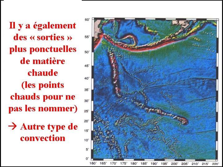 Chaine volcanique des Empereurs-Hawaii vue sur une carte topographique de l'océan Pacifique