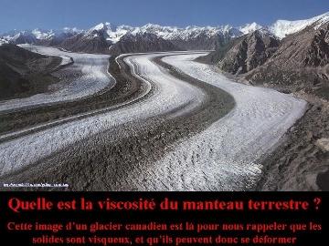 Le manteau est solide mais les solides sont visqueux et peuvent se déformer, comme le montre ce glacier canadien