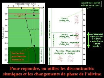 Discontinuités sismiques et phases minérales du manteau