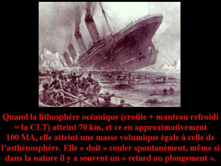 """Calcul du temps au bout duquel la lithosphère océanique plonge """"spontanément"""""""