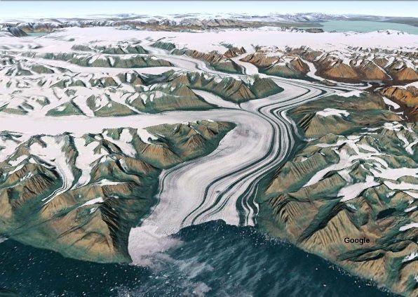 Image Google Earth de glaciers groenlandais
