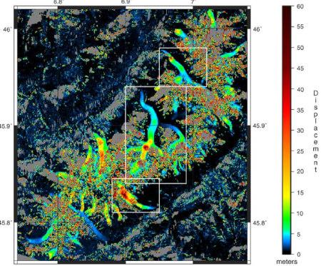 Suivi du déplacement de différents glaciers du Mont Blanc obtenu par corrélation d'images