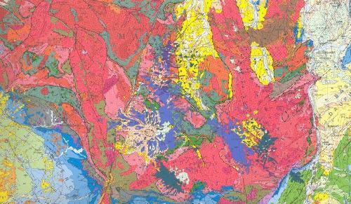 La Massif Central, extrait de la carte géologique de la France au 10-6
