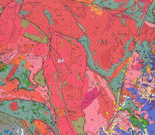 Granite de Guéret, extrait de la carte géologique au 10-6