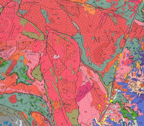 Granite de Meymac, extrait de la carte géologique au 10-6