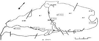Localisation des points échantillonnés sur le granite de Meymac