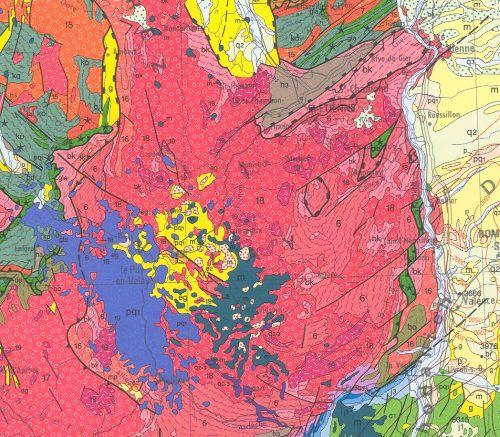 Granite du Velay, extrait de la carte géologique au 10-6