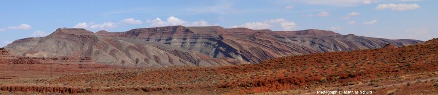 Panorama depuis l'Ouest de l'anticlinal de Raplee, immédiatement à l'Est de la bourgade de Mexican Hat, Utah