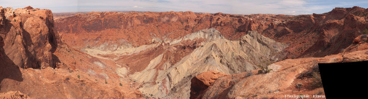 Panorama d'Upheaval Dome dans le district Island in the Sky du Parc national de Canyonlands, Utah