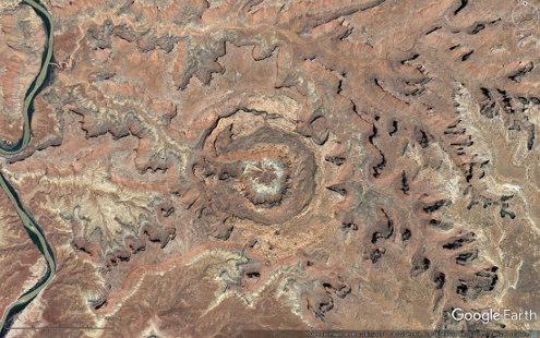 Vue aérienne d'Upheaval Dome, Parc national de Canyonlands, Utah