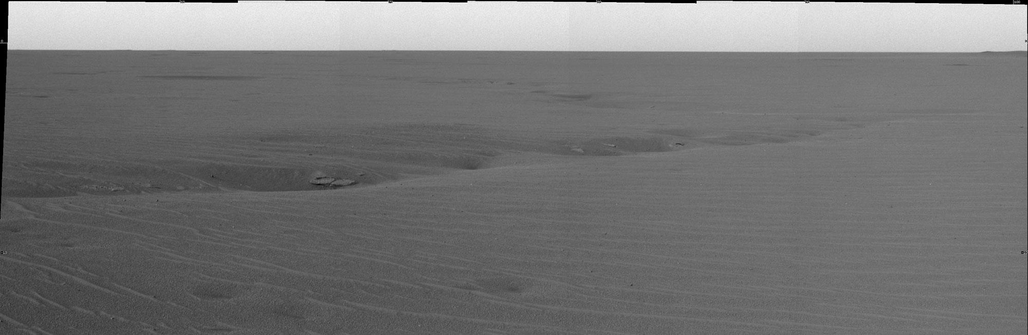 Alignement de dépressions observées par Opportunity dans Meridiani Planum