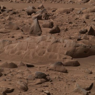 Le rocher nommé Mazatzal avant les opérations de forage, ponçage et analyse