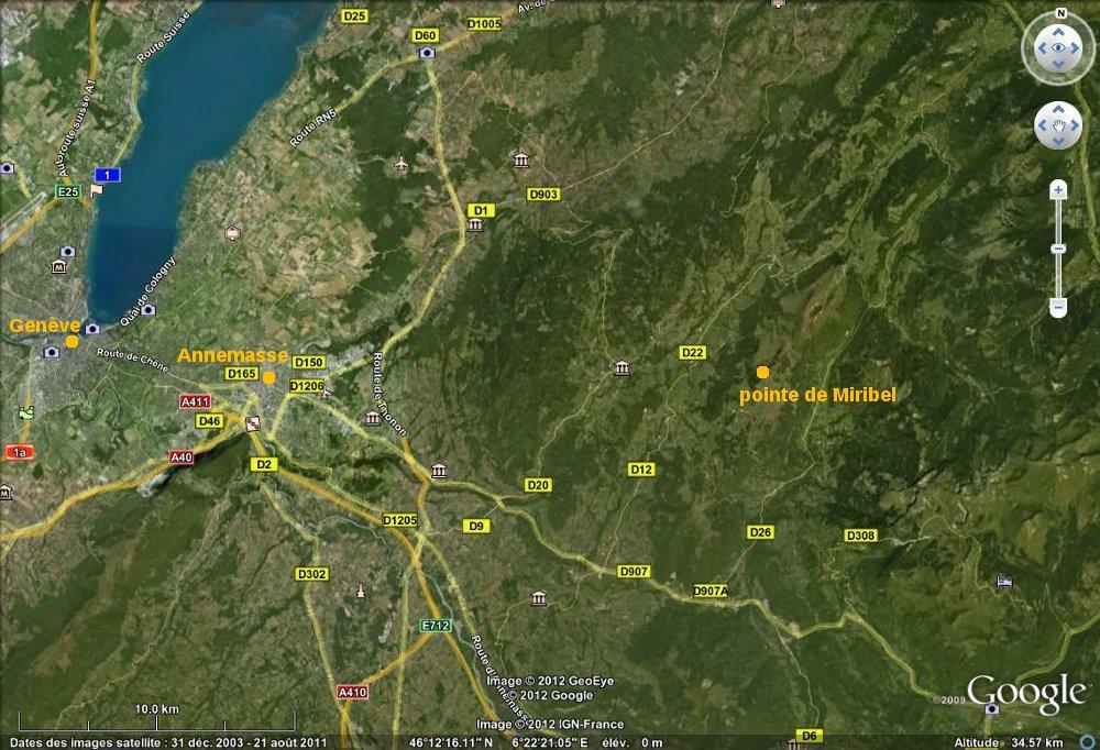 Localisation d'Annemasse et de la pointe de Miribel