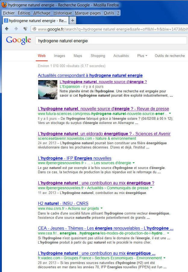 Résultat de la recherche «hydrogène naturel énergie» dans Google, le 8 mai 2013