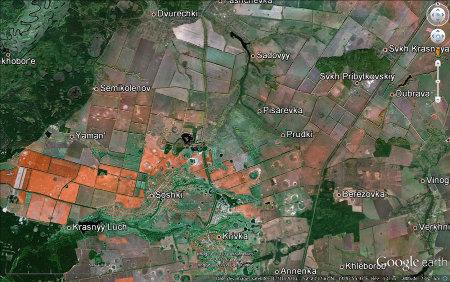 Vue d'une région de Russie (près de 52° 23' lat. N, 39° 43' long. E) présentant de nombreux trous de sorcière par où s'échapperait de grandes quantités de di-hydrogène