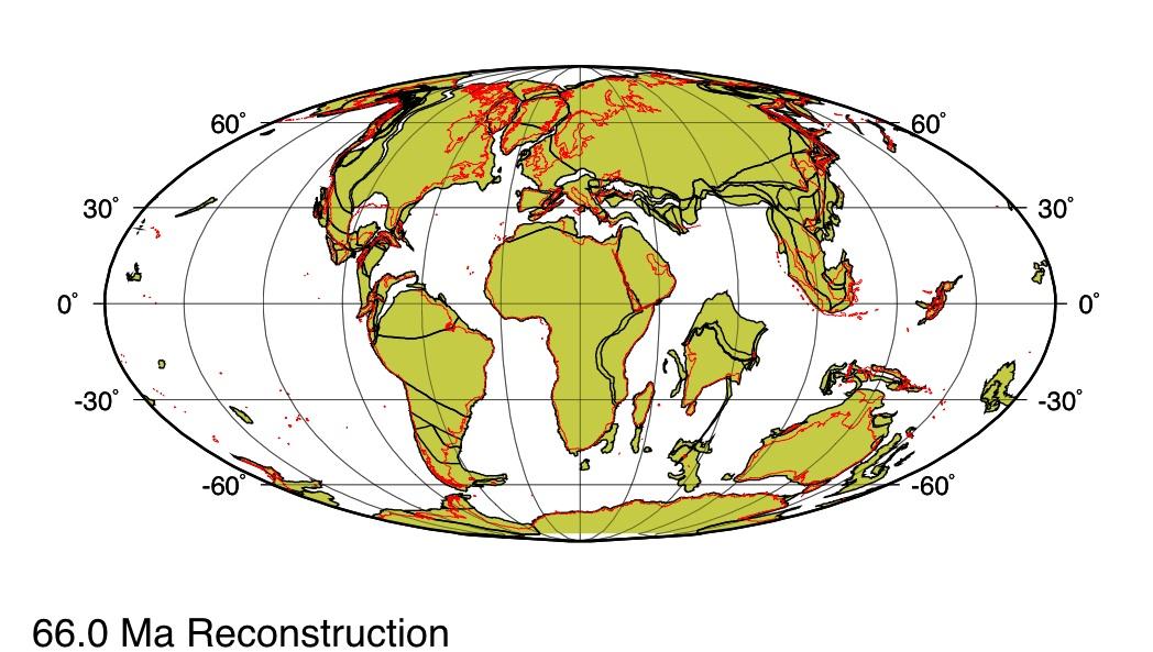 Répartition des continents il y a 66Ma