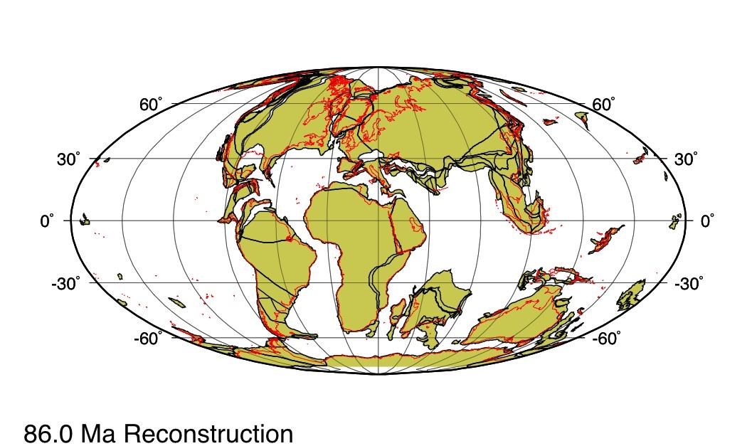 Répartition des continents il y a 86Ma