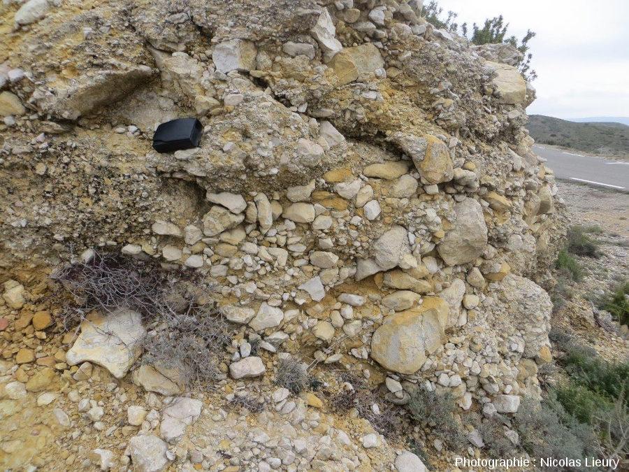 Affleurement 2, conglomérats calcaires où dominent des éléments grossiers plus ou moins roulés