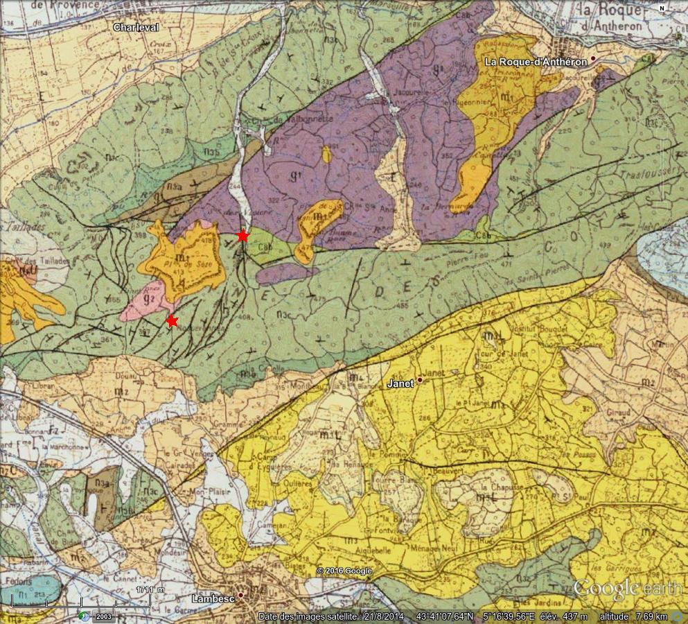 Carte géologique de la Chaine des Costes (extrait de la carte géologique au 1/50000 de Salon-de-Provence)
