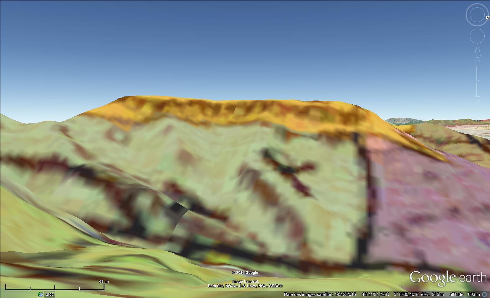 Vue aérienne et géologique du plateau de Sèze