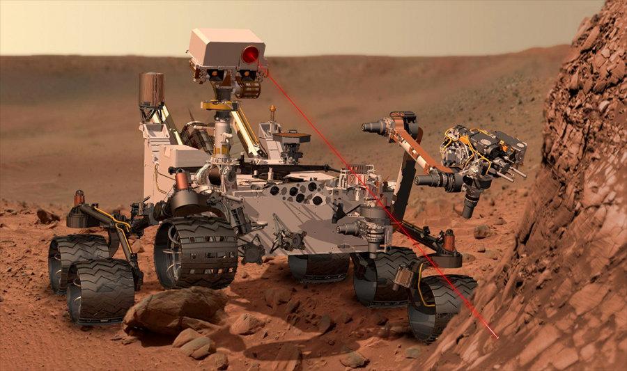 Image d'artiste montrant le principe de fonctionnement de ChemCam, avec un paysage d'Opportunity