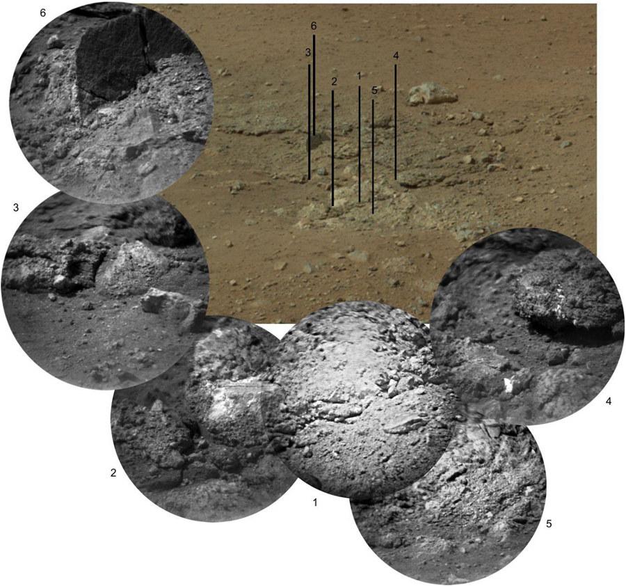 Report, sur le rectangle noir de la figure précédente, de 6 images obtenues par la caméra de ChemCam