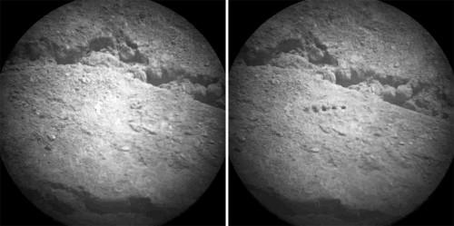 Exemple d'images brutes (raw images) prises par la caméra de ChemCam