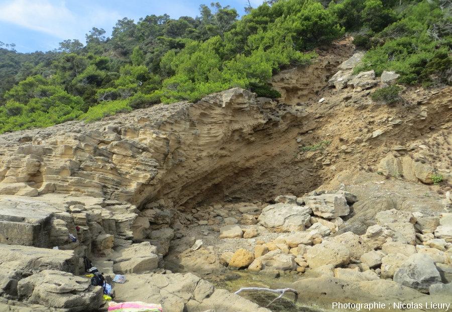 Discordance entre les micaschistes hercyninens (~350Ma, en bas à droite) du Massif des Maures et une dune fossile datant du Würm (~10ka, en haut) à la Pointe du Tuf sur l'île de Port-Cros, îles d'Hyères, Var