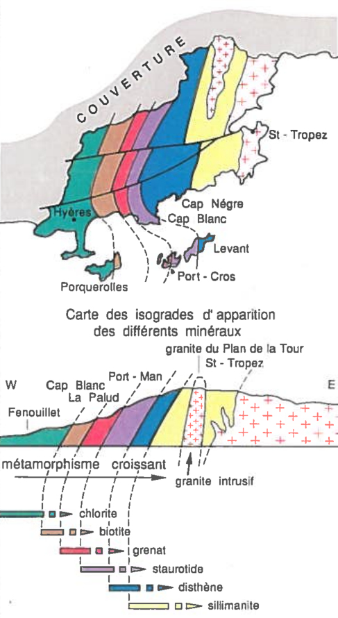 Schéma simplifié du gradient métamorphique dans le massif des Maures et sur l'île Port-Cros, îles d'Hyères, Var