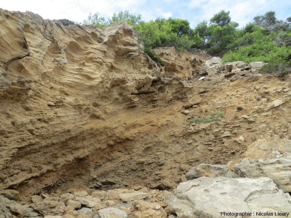 Coupe de la dune fossile du Würm et de son contact avec les micaschistes hercyniens sous-jacents à la Pointe du Tuf sur l'île de Port-Cros