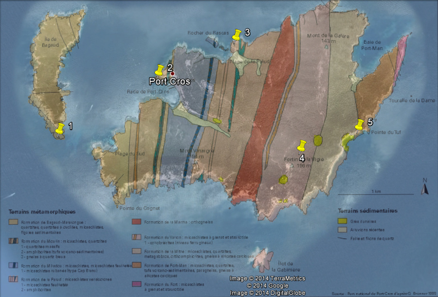 Carte géologique de l'île Port-Cros, îles d'Hyères, Var