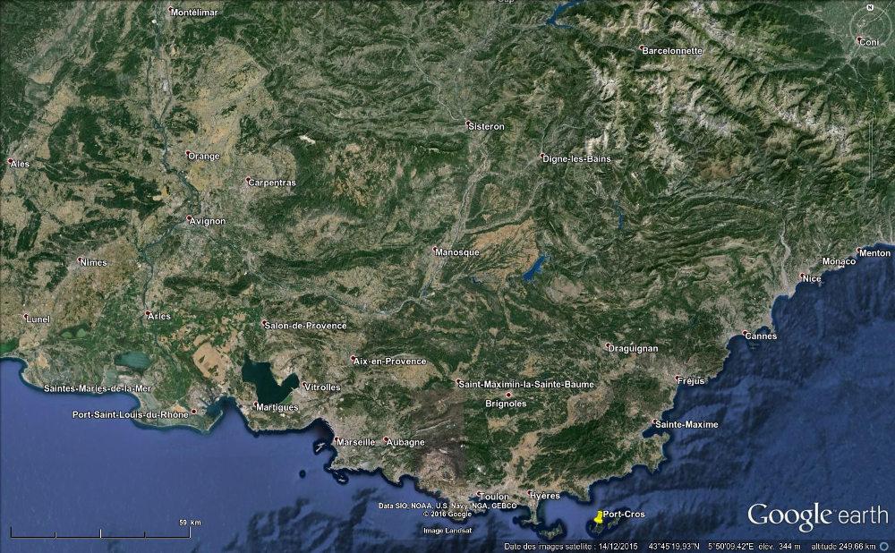 Localisation de l'île de Port-Cros dans le Sud-Est de la France