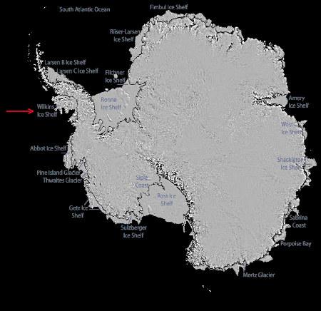 Localisation des principales plates-formes de glace antarctiques